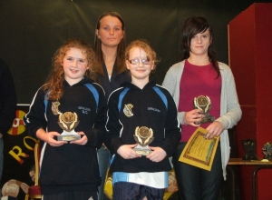 Joint U12 Most Improved Geena Convery  and Clodagh McCullough,  and POTY Kirsty McLeod receive awards from Aisling Jackson