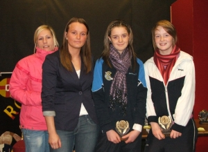 Joint U14 POTY's Niamh Kelly and Niamh Keenan received their awards from Aisling Jackson and manager Siobhan Grant