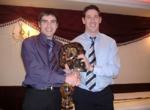Senior Player of the Year Mark graham receives his award from manager Paddy Downey