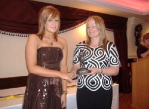 U16 Player of the Year Kiera Duffin receives her award from Jackie McGuigan