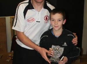 Sean Cavanagh presents U12 POTY to Ronan Delargy
