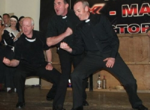 The Priests perform after winning.