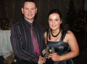 Katie McAleese receives U18 POTY from manager Kieran Convery