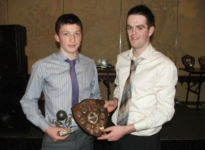 U16 POTY Dermot McAleese receives award from manager Colm McKee