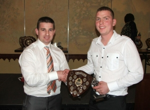 Reserve POTY Patrick O'Boyle receives award from manager Paul McKeever