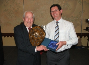 Clubman of Year Martin Kearney receives award from Club President Jamsie McAtamney