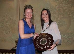 Christine Doherty receives Senior Shield from Jane Adams