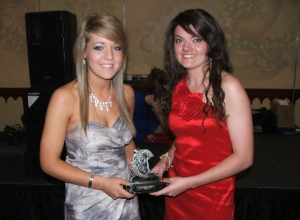 U16 POTY Niamh Doherty receives her award from Eimear Donaghy